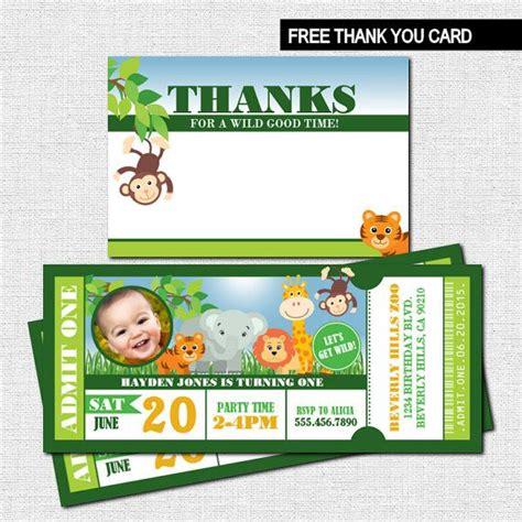 free printable zoo birthday cards zoo ticket invitations birthday safari party bonus thank