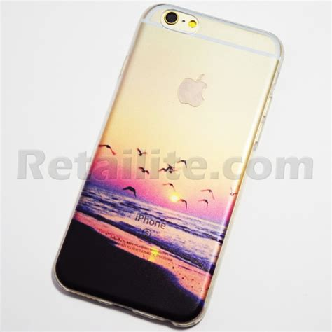 Iphone6 Softcase Motif Iphone Softcase Iphone Iphone seagulls flying on the at sunset iphone 6 6s soft retailite