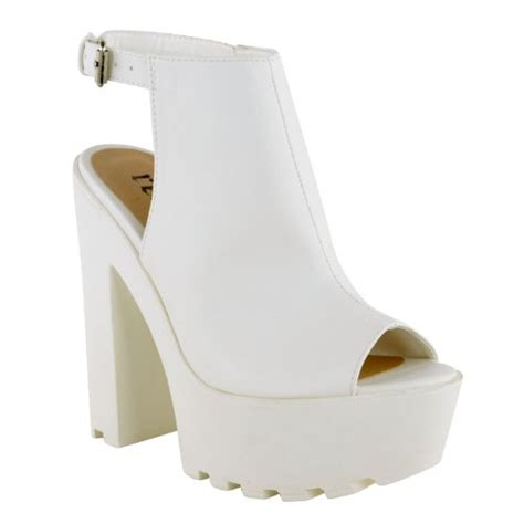 womens cleated sole high heel chunky platform cut