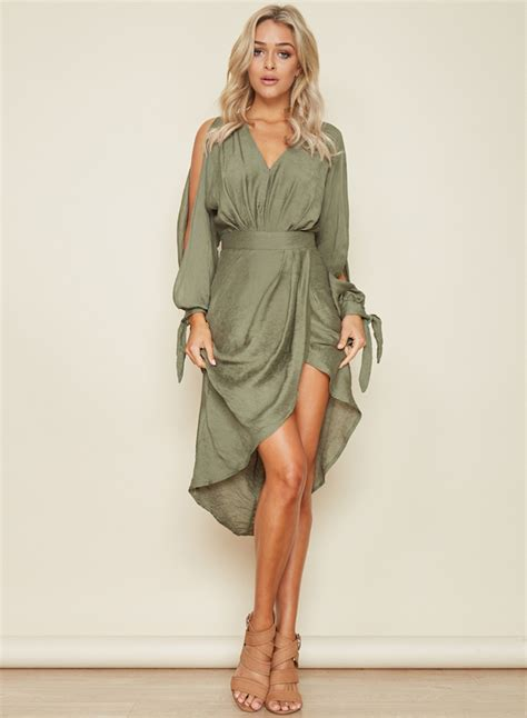 Dress Asymetric s v neck sleeve asymmetric dress achicgirl