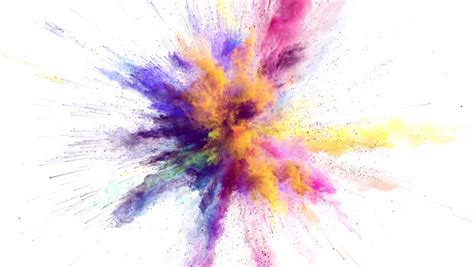 color powder cg animation of color powder explosion on white background