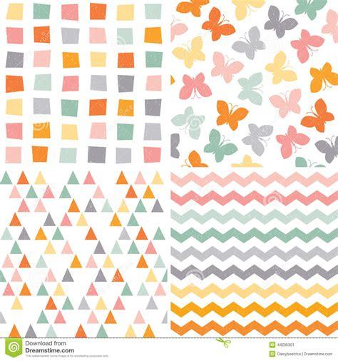 vector pattern set seamless hipster pattern set orange pink gray stock vector