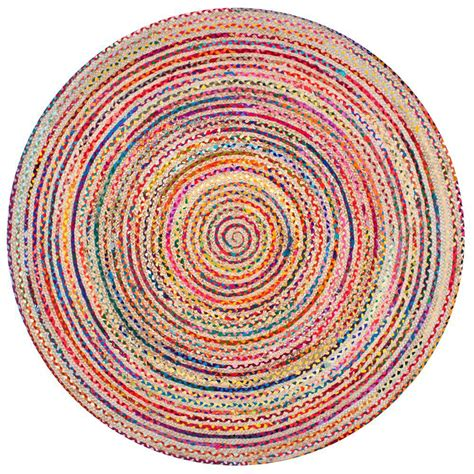 6ft Circular Rugs by Nuloom Aleen Braided Cotton Jute Multi 6 Ft Area