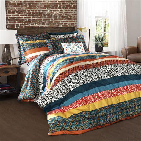 boho bed comforters lush decor boho stripe comforters turquoise tangerine 7