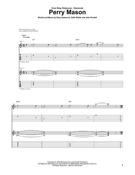 Perry Mason Sheet Music | Ozzy Osbourne | Guitar Tab