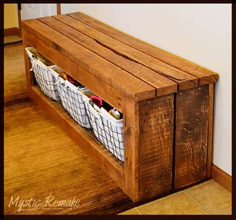 pallet bench with storage small store room diy pallet storage bench ideas