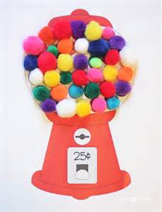 gumball machine color matching with craft pom poms