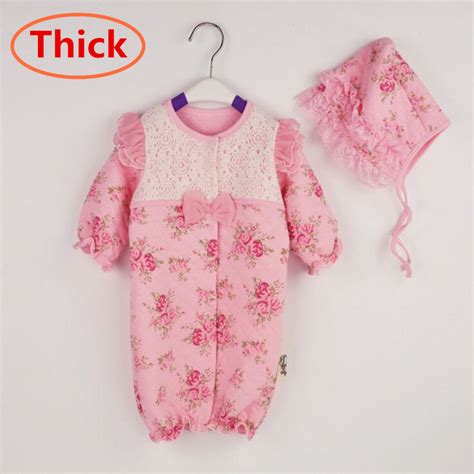 J Baby Romper Princess 3 12m newborn princess style baby romper thick winter warm clothes birthday lace rompers hats