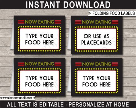 Free Food Cards For Buffet Template by Printable Food Labels Place Cards