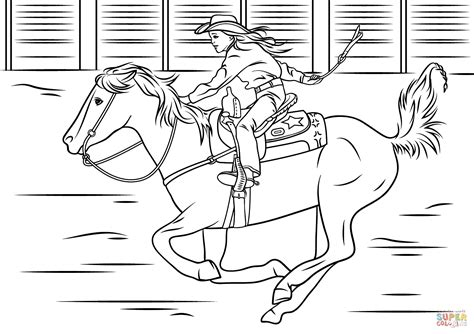 coloring pages of horses barrel racing and cowboy coloring pages printable