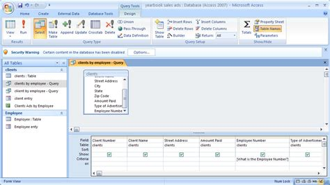 design view definition access microsoft office create queries for a database wikibooks