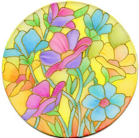 flower design in glass fannie narte bouquet of flowers on silk using neocolor ii