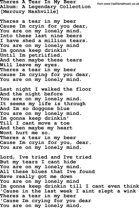 my lyrics williams hank williams song theres a tear in my lyrics