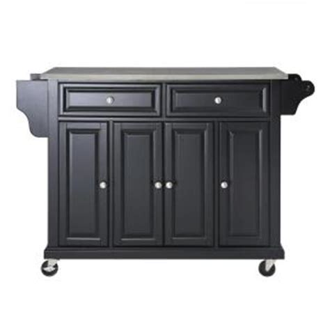 crosley 52 in stainless steel top kitchen island cart in