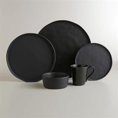 moderne geschirr sets black organic rimmed charger plates set of 4 world