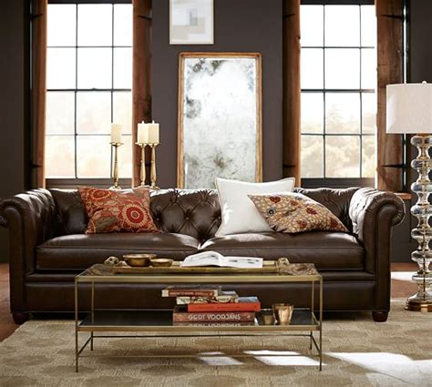 leather chesterfield sofa chesterfield leather sofa pottery barn