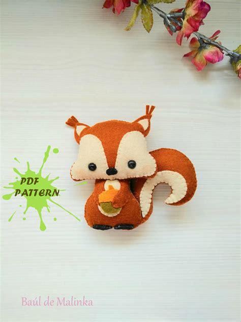 pattern for felt woodland animals squirrel pdf pattern woodland animals toy diy nursery