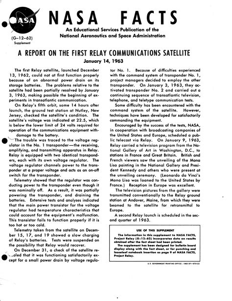 Report Photo How by File A Report On The Relay Communications Satellite January 14 1963 Jpg Wikimedia Commons