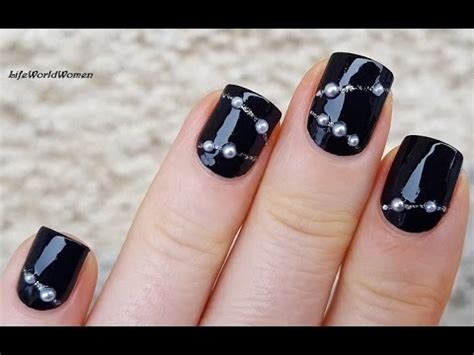 Ho5249 Diy Nail Pearl black prom nails diy pearl necklace nail