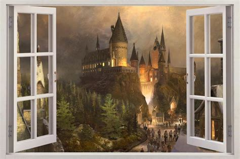 hogwarts wall mural hogwarts harry potter 3d window view decal graphic wall sticker mural h322 ebay