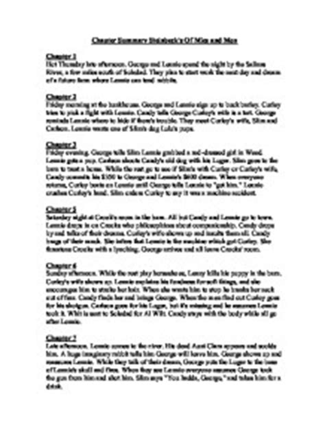 Of Mice And Section 3 Summary by Chapter Summary Steinbeck S Of Mice And Gcse