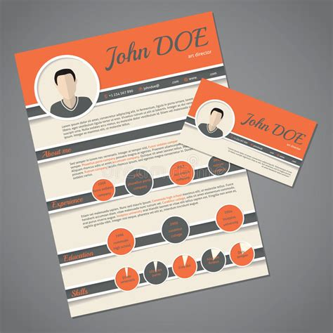 template cv tku card resume cv template with business card stock vector
