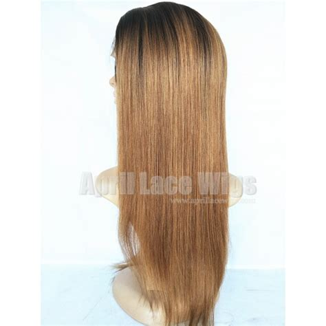 ombre yaky chinese virgin light yaki ombre color full lace wigs silk