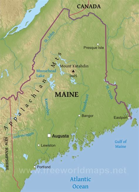 physical map of maine physical map of maine