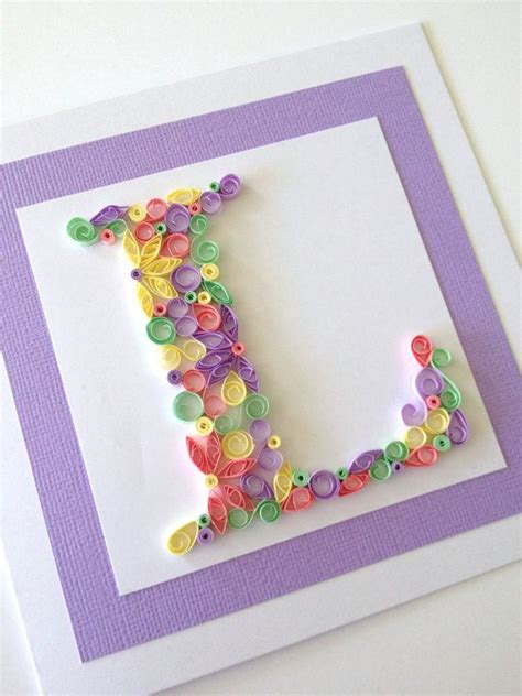 Handmade Quilling Cards - handmade quilled card monogram initial birthday card by