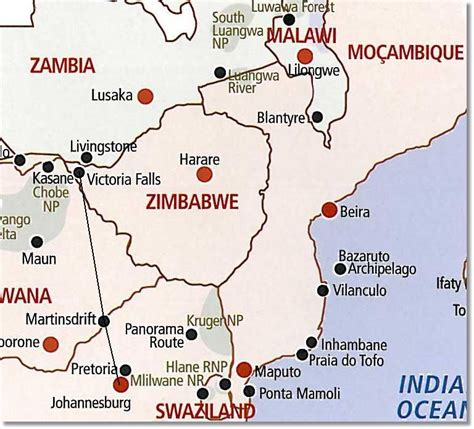 africa map falls falls to johannesburg route map