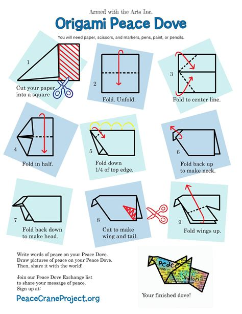 How To Make An Origami Dove - peace dove activity paz