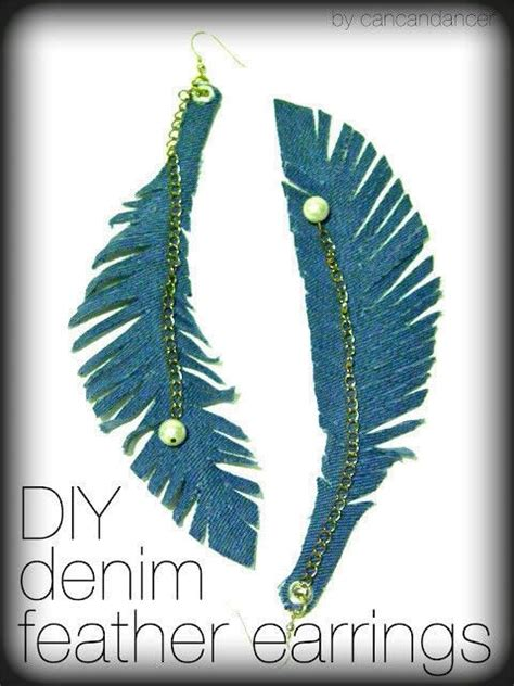 diy denim feather earrings 183 how to make a feather earring