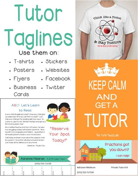 taglines for tutors looking for a way to spice up your
