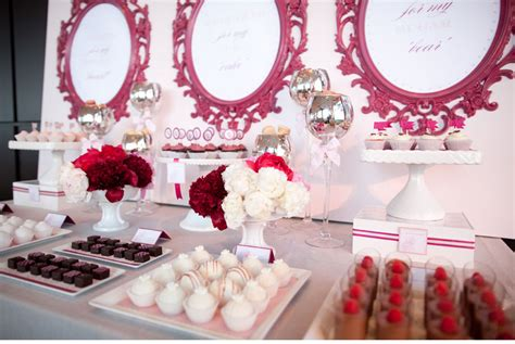 Coral Pink Wedding Decorations Dessert Table In Burgundy And Pink The Merry Bride