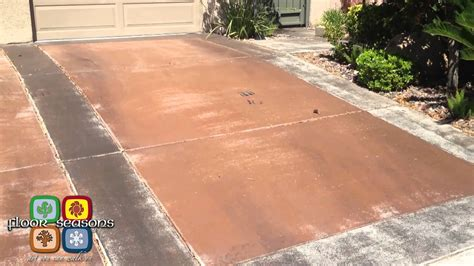 how to clean a stained concrete patio youtube floor seasons concrete driveway staining transformation
