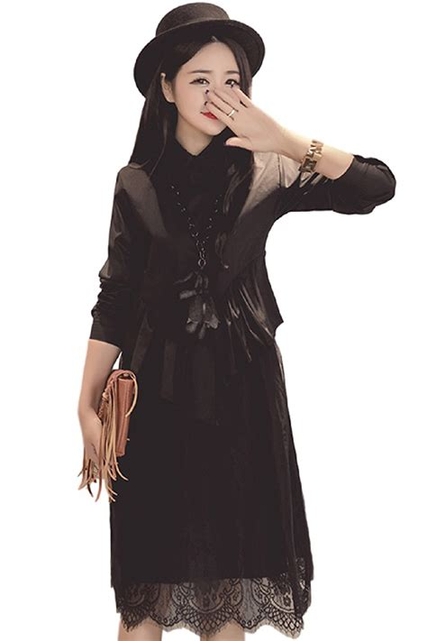 Maternity Lace Sleeve Dress lace bottom sleeve maternity collared dress black