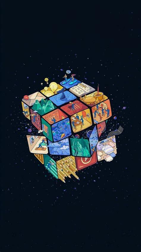 rubiks cube universum seni grafis wallpaper iphone seni