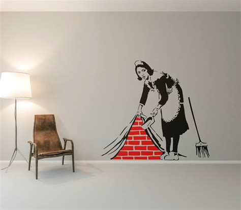 banksy cleaning lady wall decal sticker street art etsy