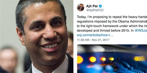 ajit pai roast ajit pai s tweet about fcc plan to gun net neutrality