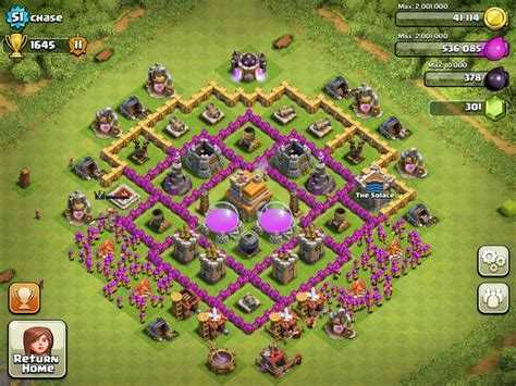 coc effective layout base design town hall level 7 4 defensive on ultimate