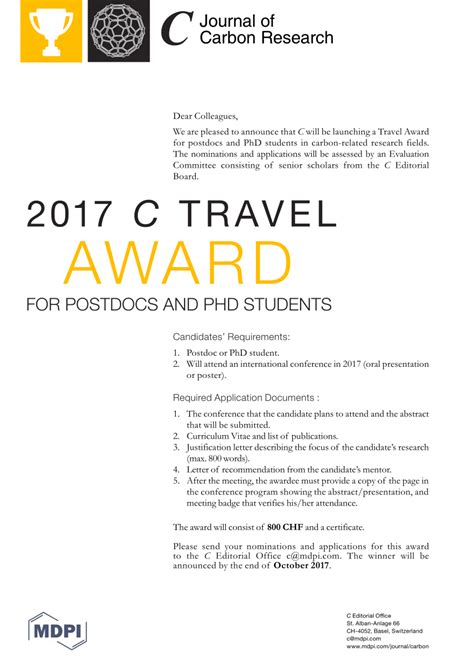 thank you letter travel award c 2017 c travel award open for pdf available