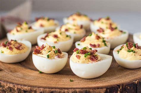 egg recipes sour cream and bacon deviled eggs recipe simplyrecipes com