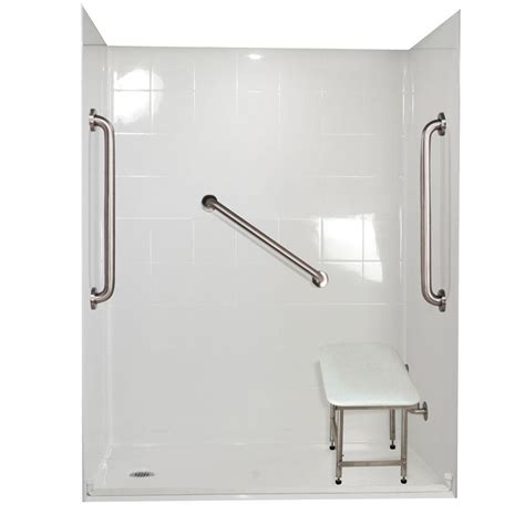 Left Drain Shower Kit ella standard plus 24 33 in x 60 in x 77 3 4 in barrier