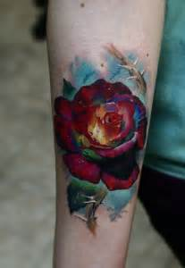 color flower tattoos watercolor flower on forearm