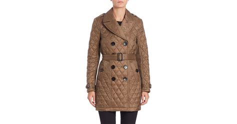 burberry goldsmead quilted trench coat in lyst