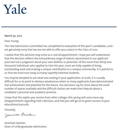 Rejection Letter Yale What Does The Rejection Letter From Oxbridge League Look Like Quora