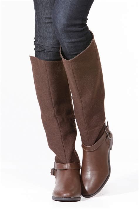 Bamboo Brown Leather Boots bamboo brown faux leather contrast boots