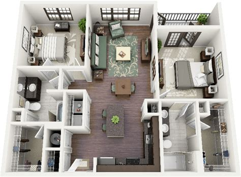 How To Find The Square Footage Of A House by 50 Two Quot 2 Quot Bedroom Apartment House Plans Architecture