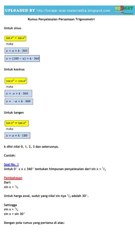 rumus persamaan trigonometri  contoh soal belajar