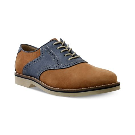 saddle oxford shoes bass saddle oxford in brown for cognac navy lyst